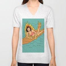 Flaming Surfer Girl Unisex V-Neck