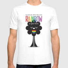 Rainbow Heart SMALL White Mens Fitted Tee