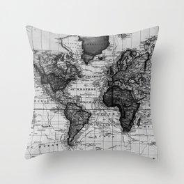 Vintage Map of The World (1833) White & Black Throw Pillow