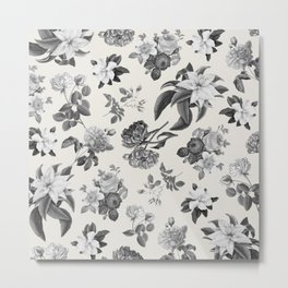 Vintage flowers on cream blackground Metal Print