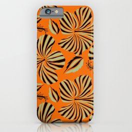 Tropical design with hibiscus in neutral and black colors. Exotic flowers in allover composition. Vintage hand drawn illustration pattern iPhone Case