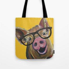 Pig with Glasses Art, Farm Animal, Cute Pig Art Tote Bag