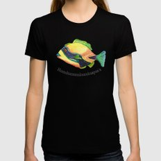 H is for Humuhumunukunukuapua'a Black Womens Fitted Tee LARGE