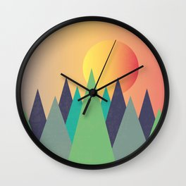 Mountains - The Sunset Wall Clock
