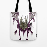 dark souls Tote Bags featuring Gaping Dragon (Dark Souls) by Strange things collection