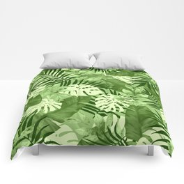 Green Tropical Leaves Pattern Comforters