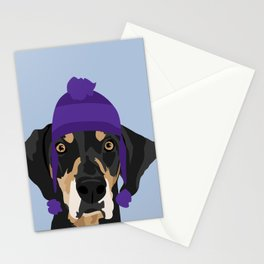 Purple hat Black and Tan Coonhound Stationery Cards