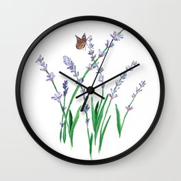 Lavender and Butterfly Wall Clock