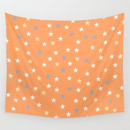 Peach Pastel Background With Stars Wall Tapestry