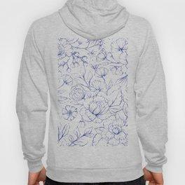 Modern hand drawn navy blue white elegant floral pattern Hoody
