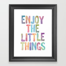 Enjoy the Little Things Watercolor Rainbow Design Inspirational Quote bedroom Wall Art Home Decor Framed Art Print