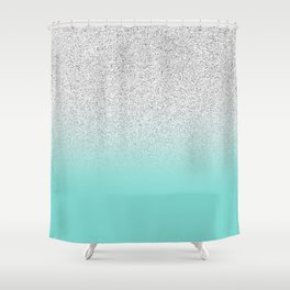 Modern Girly Faux Silver Glitter Ombre Teal Ocean Color Block Shower Curtain