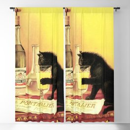 Absinthe Bourgeois Black Cat Vintage Blackout Curtain
