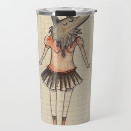 Woman Wolf at school Travel Mug