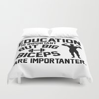 crossfit Duvet Covers featuring Education is important. But big biceps are importanter by idrux
