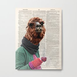 Alpaca Print, Alpaca Wall Art, Modern Minimal,original art dictionary page book art print, Coffee Metal Print