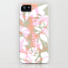Tropical Jungle Pattern - Pink, coral and Kaki iPhone Case