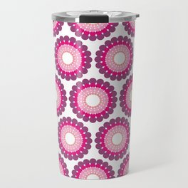 Purple pink circled polka dots on white Travel Mug