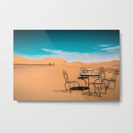 garden furniture in desert Metal Print