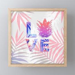 Love Pineapple Typography Tropical Boho Summer Vibes Framed Mini Art Print