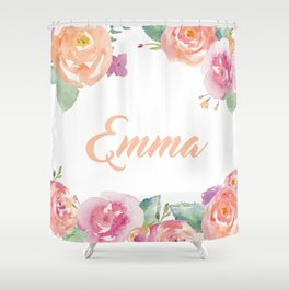 Emma Floral Name Shower Curtain