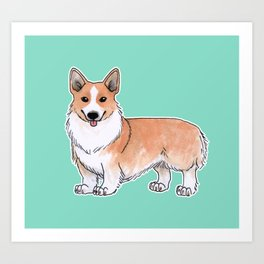 Pembroke Welsh Corgi dog Art Print