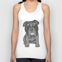 english bulldog Tank Tops featuring  Inspired English Bulldog by DiAnne Ferrer