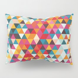Vintage Summer Color Palette - Hipster Geometric Triangle Pattern Pillow Sham