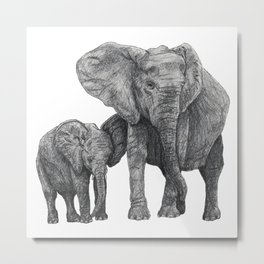 African Elephant and Calf Metal Print