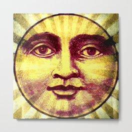 Vintage Sun Face Metal Print