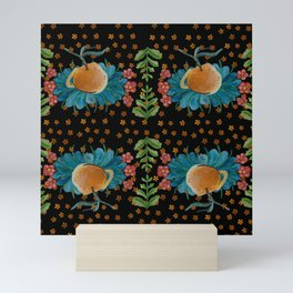 Antique Inspired Floral Botanical Print With Satsumas Mini Art Print