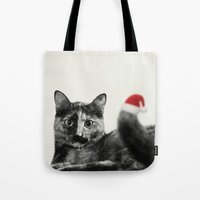 merry christmas Tote Bags featuring Merry Christmas! by SensualPatterns