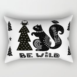 Be Wild Cute Owl And Squirrel In Scandinavian Style Rectangular Pillow