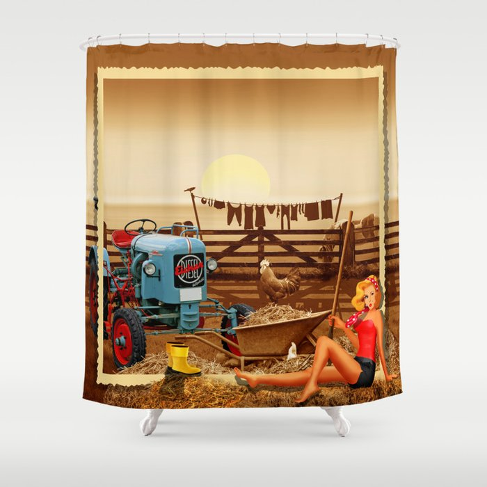 Pin Up Girl With Tractor On The Farm Shower Curtain