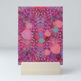 """Abstract polka dots in pink and pastel colors"" Mini Art Print"