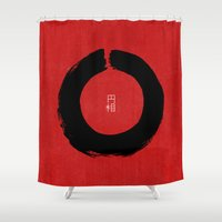 buddhism Shower Curtains featuring ENSO IN JAPAN by THE USUAL DESIGNERS