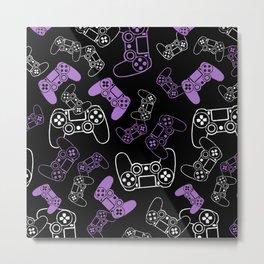 Video Games Lavender on Black Metal Print