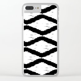 Black and White Tribal Ikat Pattern Clear iPhone Case