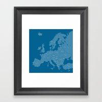 Europe map - blue Framed Art Print