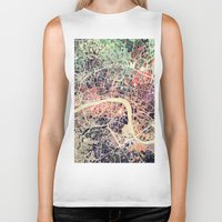 london map Biker Tanks featuring London Mosaic Map #1 by Map Map Maps