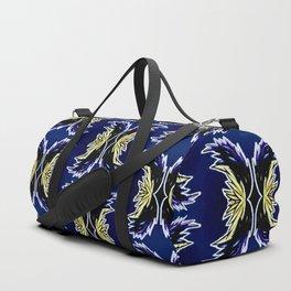 Yellow Darkblue Ornament  Baroque Damask Pattern Duffle Bag