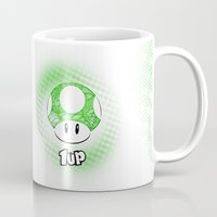 mario kart Mugs featuring 1-UP from Mario by Art & Be