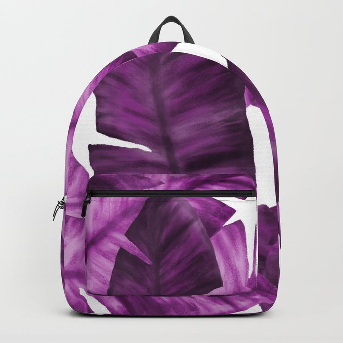 Pink Tropical Banana Leaves Pattern Backpack