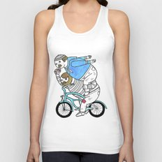 On how bicycle riders utilize team work in certain situations. Unisex Tank Top