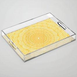 Spiral Mandala (Yellow Golden) Curve Round Rainbow Pattern Unique Minimalistic Vintage Zentangle Acrylic Tray