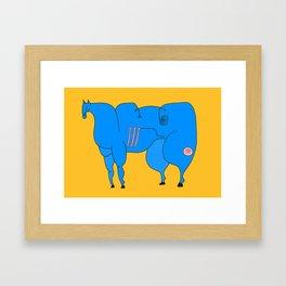 Horse (blue) Framed Art Print