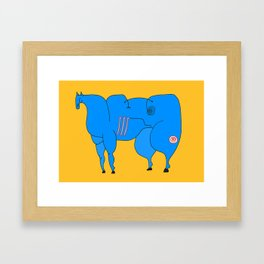 Horse (blue) Framed Art Print