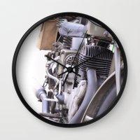 motorbike Wall Clocks featuring Old motorbike by Carlo Toffolo