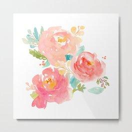 Watercolor Peony Bouquet Metal Print