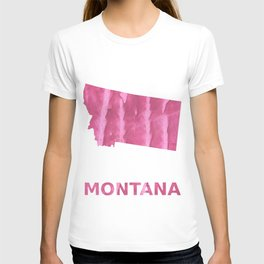 Montana map outline Pale violet red blurred wash drawing T-shirt
